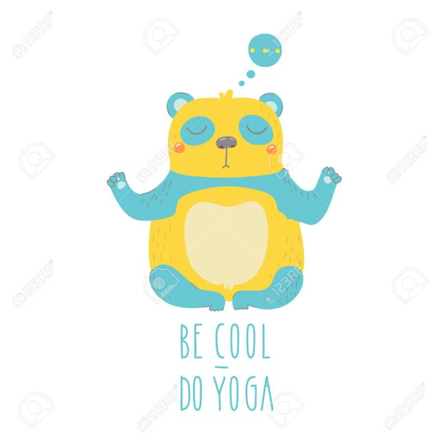panda-isolated-on-white-background-Be-cool-do-yoga--Stock-Vector